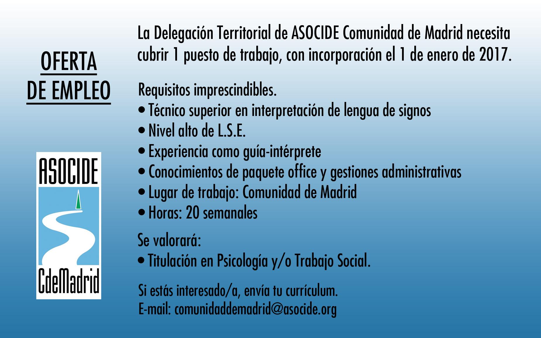 Oferta de empleo asocide comunidad de madrid asocide - Oferta de trabajo ...